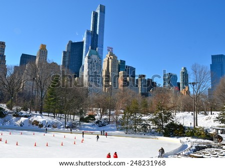 New York City - January 28, 2015: Ice-skating in Central Park on January 28, 2015,  Manhattan, New York City, USA. - stock photo