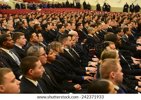 NEW YORK CITY - JANUARY 7 2015: Mayor Bill De Blasio presided over the swearing in of NYPD academy graduates with a moment of silence for victims of the terror attack against Charlie Hebdo in Paris