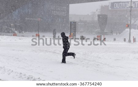 NEW YORK CITY - JANUARY 23 2015: New York City's second-worst blizzard on record buried downtown Brooklyn & the Barclay's Center in gusts & accumulation