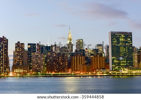 New York City - January 2, 2016: New York City skyline view from Gantry Park, Long Island City, Queens. - stock photo