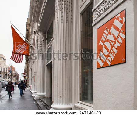 NEW YORK CITY - JANUARY 9, 2015:  Street view of The Home Depot in Chelsea in New York City.  - stock photo