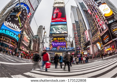 NEW YORK CITY - JANUARY 5: Times Square, featured with Broadway Theaters and animated colorful LED signs, is a symbol of New York City and the USA as seen on January 5, 2013. in Manhattan. - stock photo