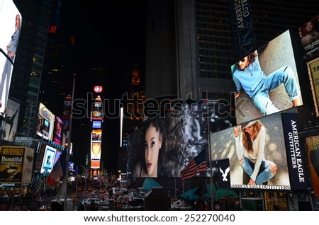 New York City - January 26, 2015: Times Square, Manhattan, New York City, USA. - stock photo