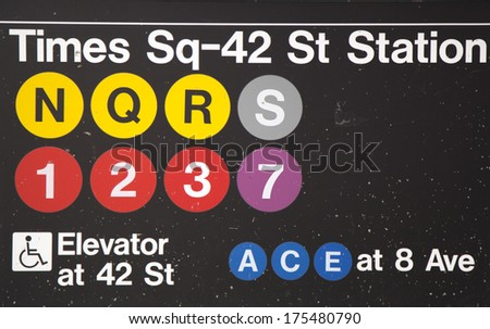 NEW YORK CITY - JANUARY 26: Times Square 42 St Subway Station entrance in NYC on January 26, 2014.  Owned by the NYC Transit Authority, the subway system has 469 stations in operation - stock photo