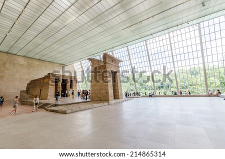 NEW YORK CITY - JUL 17: In the Metropolitan Museum of Art's on July 17, 2014 in New York. Templa of Dendur, Egyptian temple replica in Metropolitan Museum of Art. - stock photo