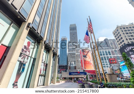NEW YORK CITY - JUL 22: Madison Square Garden in New York City on July 22, 2014. This landmark multi-purpose indoor arena, located above Penn Station. It opened February 1968. - stock photo