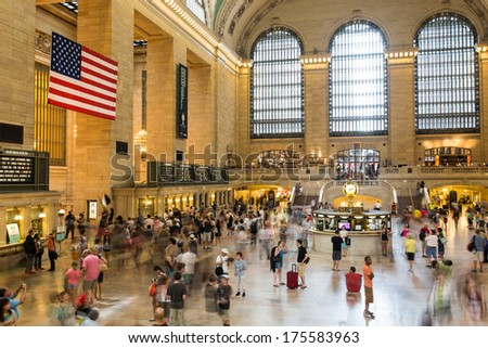 NEW YORK CITY - JULY 20: Daytime traffic on Central train station a symbol of New York City on July 20, 2013 in Manhattan, New York City.