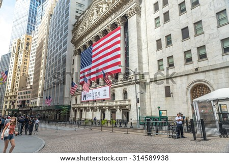 NEW YORK CITY - JULY 10: Facade of New York Stock Exchange on July 10, 2015 in NYC. New York Stock Exchange is the largest stock exchange in the world