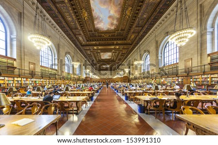NEW YORK CITY - JULY 10: people study in the New York Public Library on July 10, 2010 in Manhattan, New York City. New York Public Library is the third largest public library in North America. - stock photo