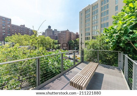 NEW YORK CITY - JULY 22: Scenic views of the High Line Park on July 22, 2014. The High Line is a popular linear park built on the elevated former New York Central Railroad spur in Manhattan. - stock photo