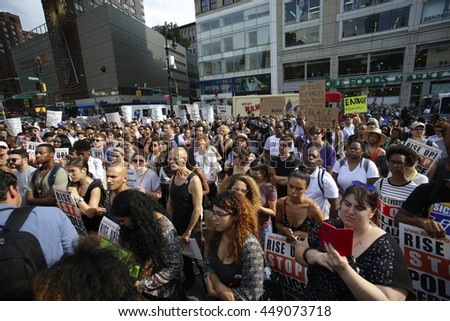 NEW YORK CITY - JULY 7 2016: Several thousand activists rallied & marched to protest recent police-involved shootings in Minnesota & Louisiana.