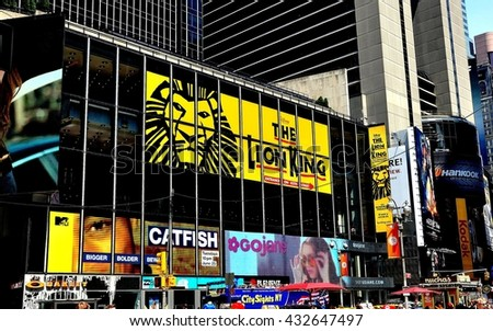 New York City - July 15, 2011: Sign for Disney's musical The Lion King in Times Square