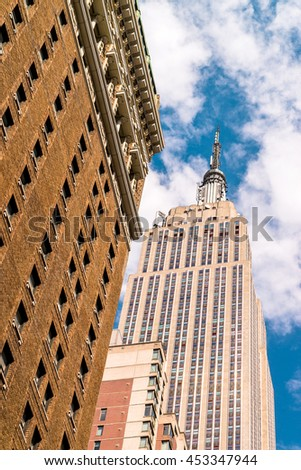 NEW YORK CITY - JULY 17, 2016: The Empire State Building wiev, New York, USA. The Empire State Building is a 102-story landmark and American cultural icon in New York City - stock photo