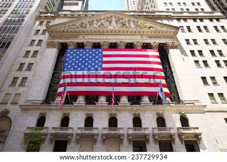 NEW YORK CITY - JULY 04: The historic New York Stock Exchange, one of the largest stock exchanges in the world on July 04, 2012 in New York, NY, USA.