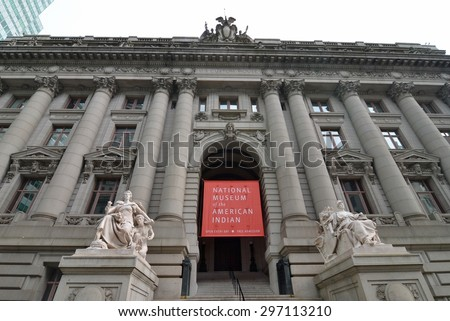 New York City - July 15, 2015: The National Museum of the American Indian, Manhattan, NYC, USA. - stock photo
