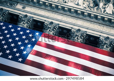 NEW YORK CITY - JULY 16: The New York Stock Exchange on Wall Street on July 16, 2015 in New York City. The NYSE is one of the most important stock exchanges worldwide. - stock photo