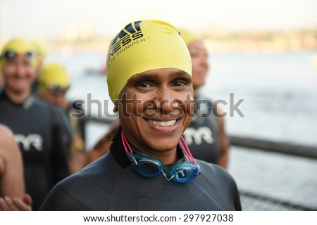 NEW YORK CITY - JULY 19 2015: the NYC Panasonic Triathlon was held along the Hudson River at Riverside Park with participants swimming 1500 meters.
