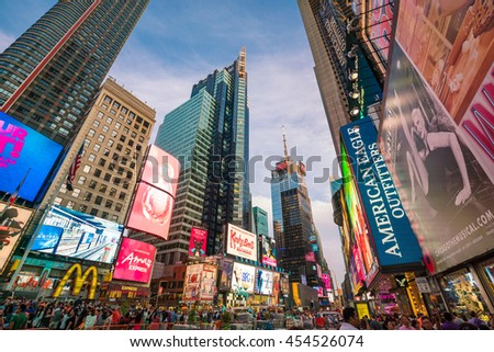 NEW YORK CITY -JULY 2: Times Square at night with animated LED signs on July 2, 2016 in Manhattan, New York City. USA. It is a symbol of New York City and the United States