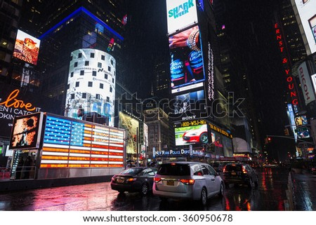 NEW YORK CITY -JULY 10: Times Square, featured with Broadway Theaters and animated LED signs, is a symbol of New York City and the United States, July 10, 2015 in Manhattan, New York City. USA. - stock photo