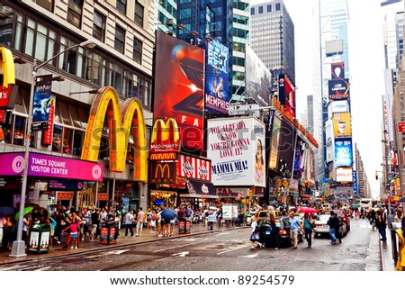 NEW YORK CITY - JULY 2: Times Square featured with Broadway Theaters and animated LED signs is a symbol of New York City and the United States, July 2, 2011 in Manhattan, New York City.