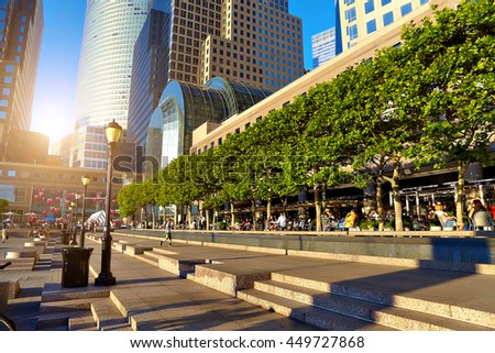 NEW YORK CITY - JULY 14, 2016 USA: View on Brookfield Place. - stock photo