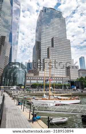 NEW YORK CITY - JULY 13: View on Brookfield Place on July 13, 2015 in New York. Brookfield Place is a complex of office buildings located across West Street from the World Trade Center in Manhattan.