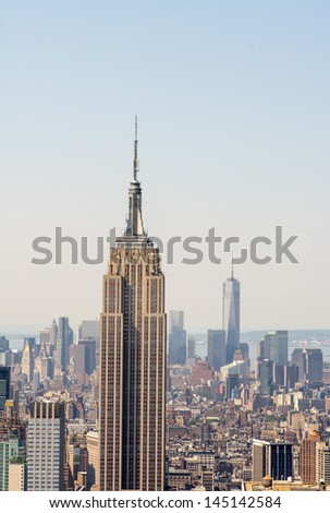 NEW YORK CITY - JUN 14 : Empire state building facade on June 14, 2013 in New York City. It stood as the world's tallest building for more than 40 years (from 1931 to 1972). - stock photo