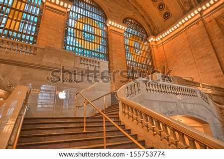 NEW YORK CITY - JUN 8: Interior of Grand Central Station on June 8, 2013 in New York City, NY. The terminal is the largest train station in the world by number of platforms - stock photo