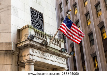 NEW YORK CITY - JUN 24,2014. New York stock exchange is known as symbol of capitalism world and the world's largest stock exchange by market capitalization - stock photo