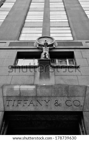 NEW YORK CITY - JUN 24: Tiffany & Co. Building on Wall Street in the Financial District in NYC on Jun 24, 2008. A luxury American multinational jewelry and silverware corporation.  - stock photo