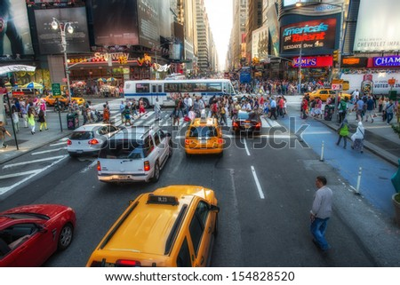NEW YORK CITY - JUN 11: Traffic near Times Square on June 11, 2013 in New York. Traffic is heavy and is now a major issue in the city.