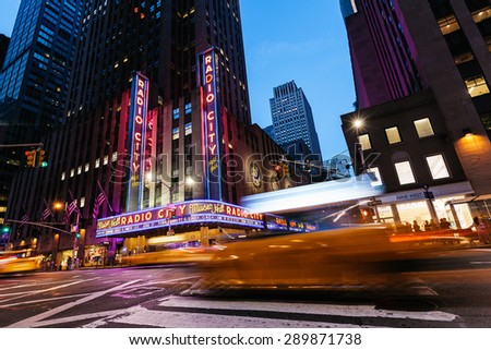 NEW YORK CITY - JUNE 14: Completed in 1932, the famous venue was declared a city landmark in 1978 and it was for a time the leading tourist destination in the city, on June 16, 2015 in New York, USA - stock photo