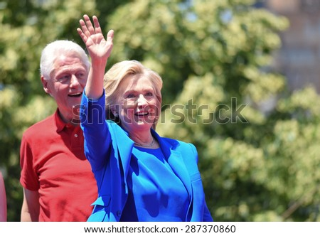 NEW YORK CITY - JUNE 13 2015: former secretary of state Hillary Rodham Clinton formally announced her intention to seek the 2016 Democratic nomination for president during a rally on Roosevelt Island - stock photo