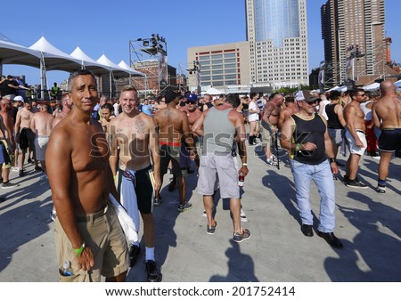 NEW YORK CITY - JUNE 29 2014: Heritage of Pride sponsored a post Pride Parade Dance on Pier 26 in Tribeca attended by several thousand celebrants.