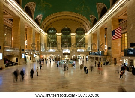 NEW YORK CITY - JUNE 26: Main hall of Grand Central Station June 26, 2012 in New York, NY. The terminal is the largest train station in the world by number of platforms having 44. - stock photo