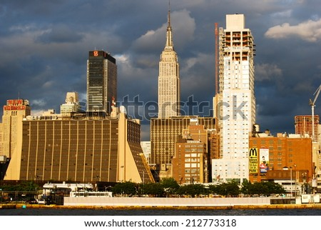 NEW YORK CITY - June 20, 2009: Manhattan Skyline with Empire State Building over Hudson River on June 20, 2009, New York City, USA. - stock photo