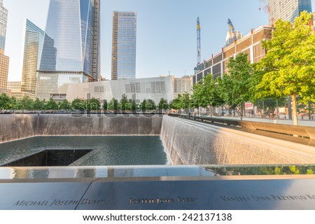 NEW YORK CITY - JUNE 12: Overview of the 9/11 memorial site at the World Trade Center in New York on June 12, 2013. - stock photo