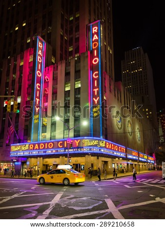 NEW YORK CITY - JUNE 14, 2015: Radio City Music Hall, the landmark in Manhattan located in Rockefeller Center, has hosted the most popular entertainers and artists of the last decades. - stock photo