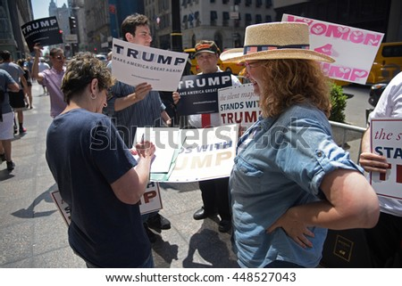 NEW YORK CITY - JUNE 25 2016: Several dozen supporters of presumptive Republican  nominee Donald Trump gathered in front of Trump Tower to voice their support for the billionaire developer.
