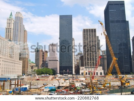 NEW YORK CITY - JUNE 18, 2008: The construction of NYC's World Trade Center towers as seen on JUNE 18, 2008, NYC, USA. - stock photo