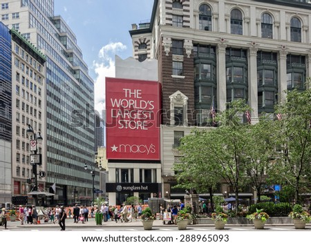 NEW YORK CITY - June 17, 2015 - The iconic Macy's store at Herald Square, New York City.