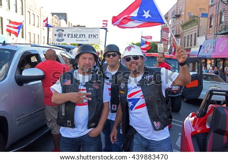 NEW YORK CITY - JUNE 12 2016: thousands filled the streets of Manhattan & Brooklyn to celebrate NYC's 59th annual Puerto Rico Day.