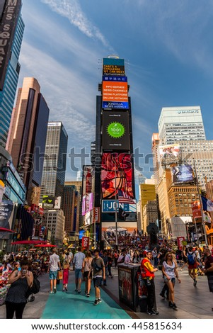 NEW YORK CITY - JUNE 15 2016: Times Square on June 15, 2016 in New York, NY. One of the world's most visited tourist attractions, drawing an estimated 50 million visitors annually.