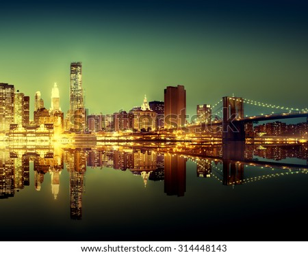 New York City Lights Scenic Bridge View Concept
