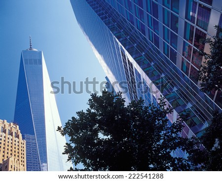 New York City - looking up. Buildings of Manhattan - Freedom Tower. - stock photo