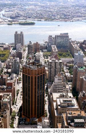 New York City Lower Manhattan Aerial panoramic view, NYC - stock photo
