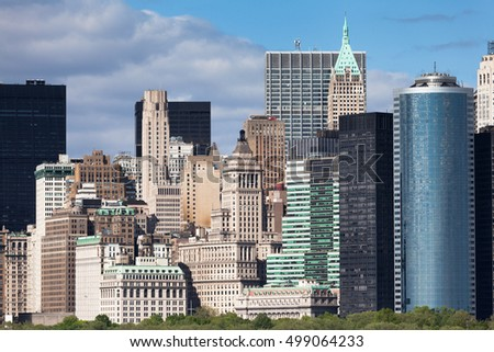 New York City Lower Manhattan cityscape and architecture detail during sunny spring day in NYC, USA.