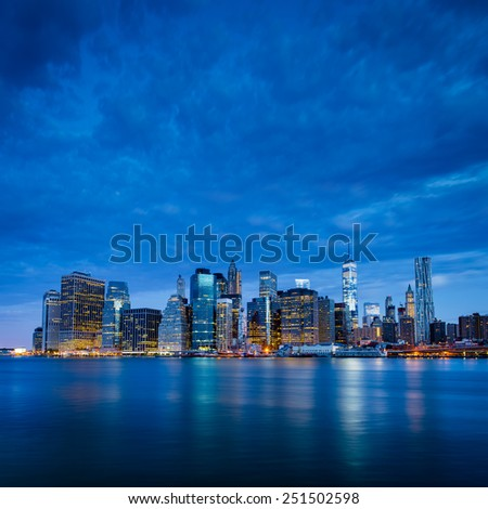 New York City - Lower Manhattan in blue morning - stock photo