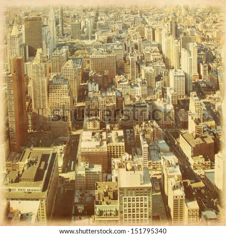 New York City Manhattan aerial view in grunge and retro style. - stock photo