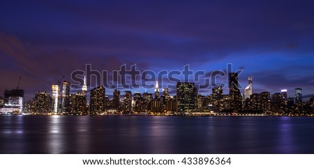 New York City manhattan buildings skyline at night